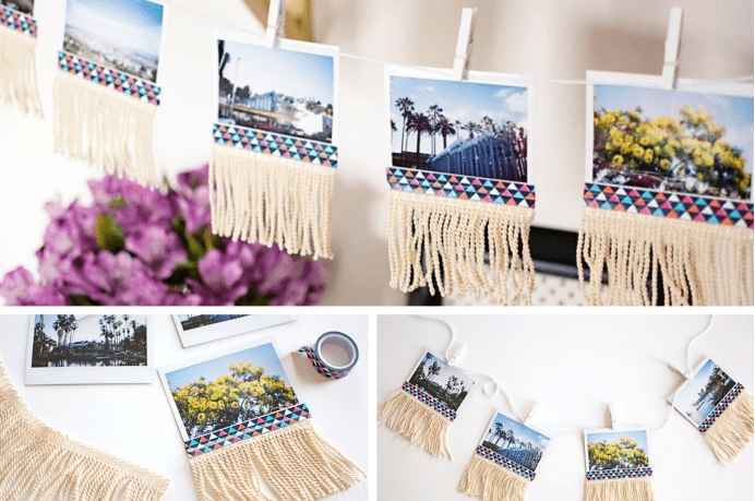 DIY hanging lamp or photo garland for a unique decoration